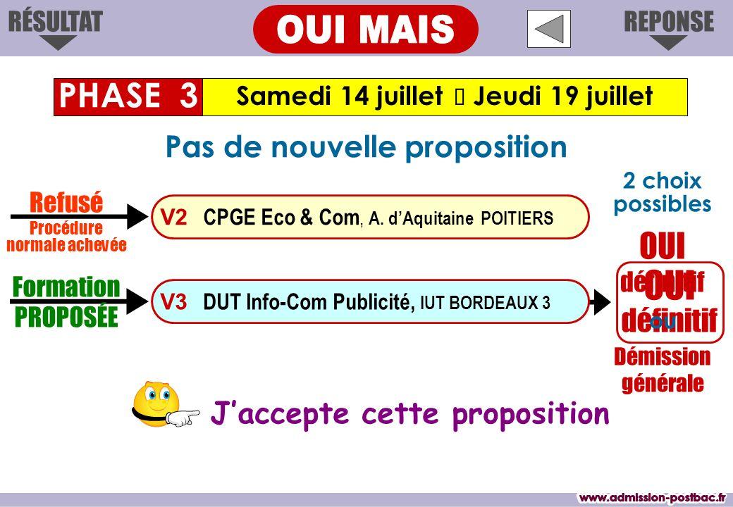 OUI définitif Jaccepte cette proposition Samedi 14 juillet Jeudi 19 juillet PHASE 3 REPONSERÉSULTAT Formation PROPOSÉE V3 DUT Info-Com Publicité, IUT BORDEAUX 3 V2 CPGE Eco & Com, A.