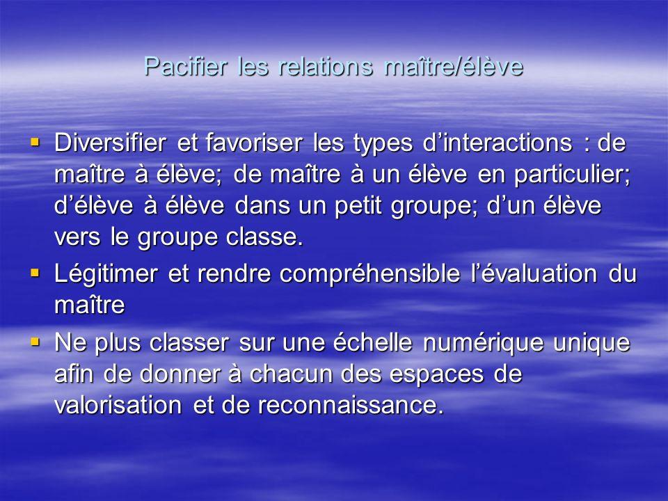 Pacifier les relations maître/élève Diversifier et favoriser les types dinteractions : de maître à élève; de maître à un élève en particulier; délève à élève dans un petit groupe; dun élève vers le groupe classe.