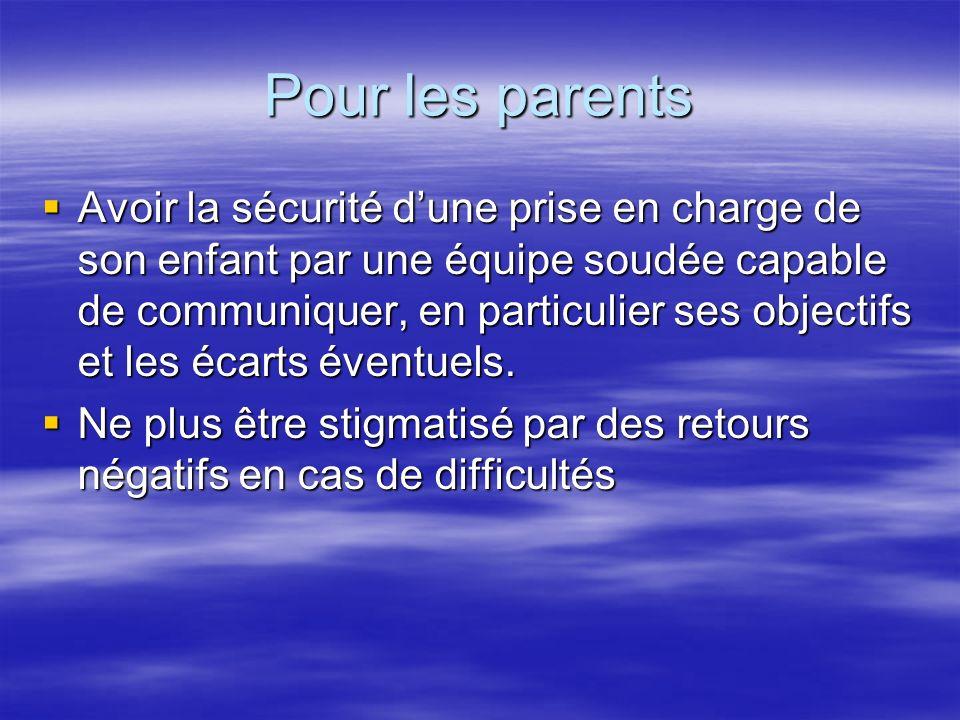 Pour les parents Avoir la sécurité dune prise en charge de son enfant par une équipe soudée capable de communiquer, en particulier ses objectifs et les écarts éventuels.