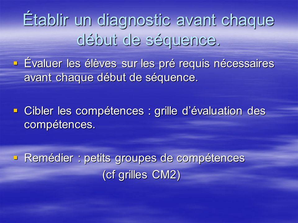 Établir un diagnostic avant chaque début de séquence.