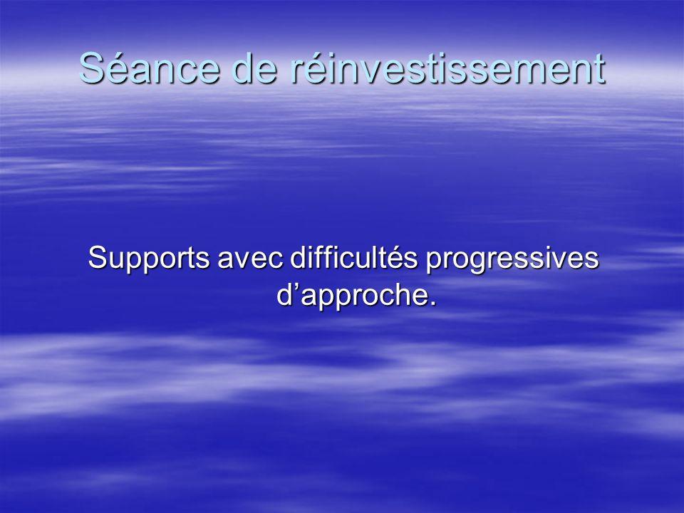 Séance de réinvestissement Supports avec difficultés progressives dapproche.