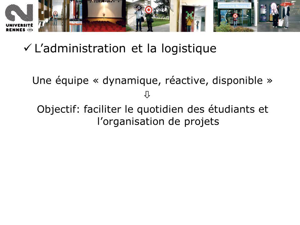 Ladministration et la logistique Une équipe « dynamique, réactive, disponible » Objectif: faciliter le quotidien des étudiants et lorganisation de projets