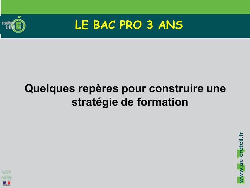 Cliquez pour modifier le style du titre Cliquez pour modifier les styles du texte du masque Deuxième niveau Troisième niveau Quatrième niveau Cinquième niveau 1 LE BAC PRO 3 ANS Quelques repères pour construire une stratégie de formation