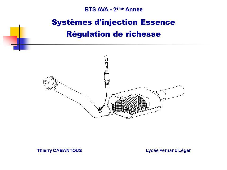 BTS AVA - 2 ème Année Systèmes d'injection Essence Régulation de richesse Thierry CABANTOUS Lycée Fernand Léger