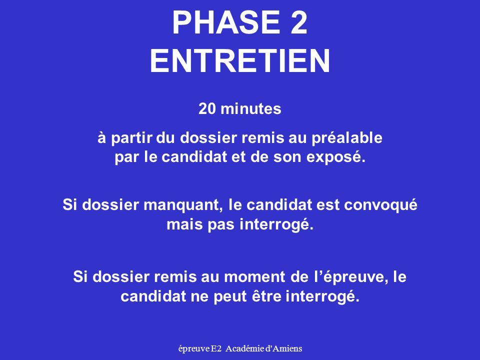 épreuve E2 Académie d'Amiens PHASE 2 ENTRETIEN 20 minutes à partir du dossier remis au préalable par le candidat et de son exposé. Si dossier manquant