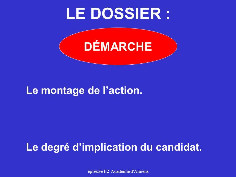 épreuve E2 Académie d'Amiens LE DOSSIER : DÉMARCHE Le montage de laction. Le degré dimplication du candidat.