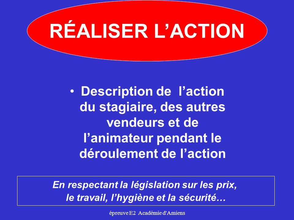 épreuve E2 Académie d'Amiens Description de laction du stagiaire, des autres vendeurs et de lanimateur pendant le déroulement de laction En respectant