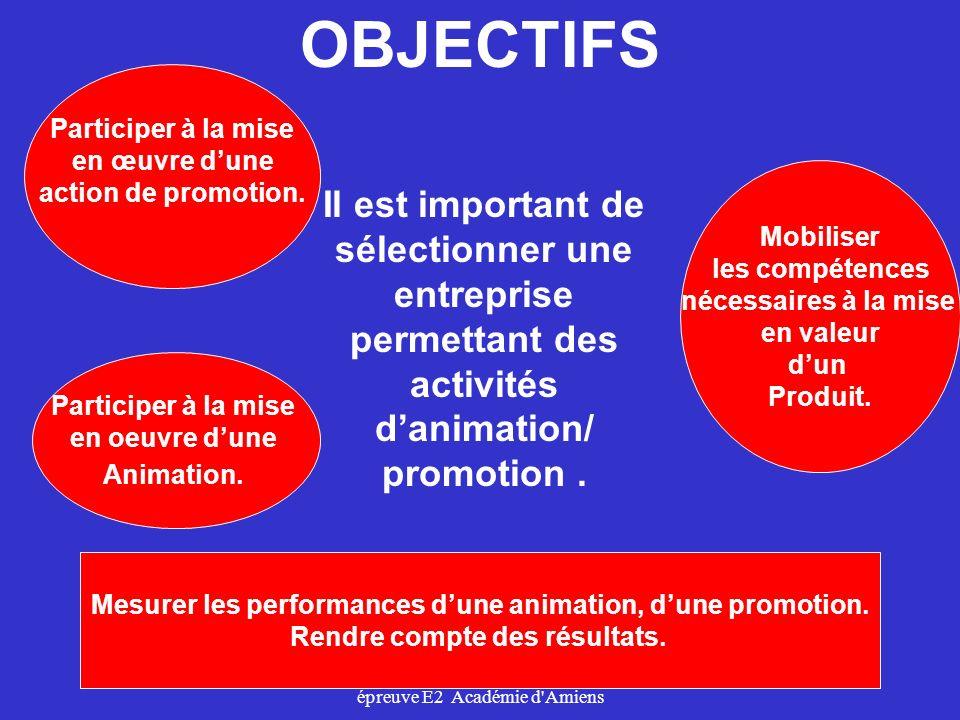 épreuve E2 Académie d'Amiens Il est important de sélectionner une entreprise permettant des activités danimation/ promotion. Mobiliser les compétences