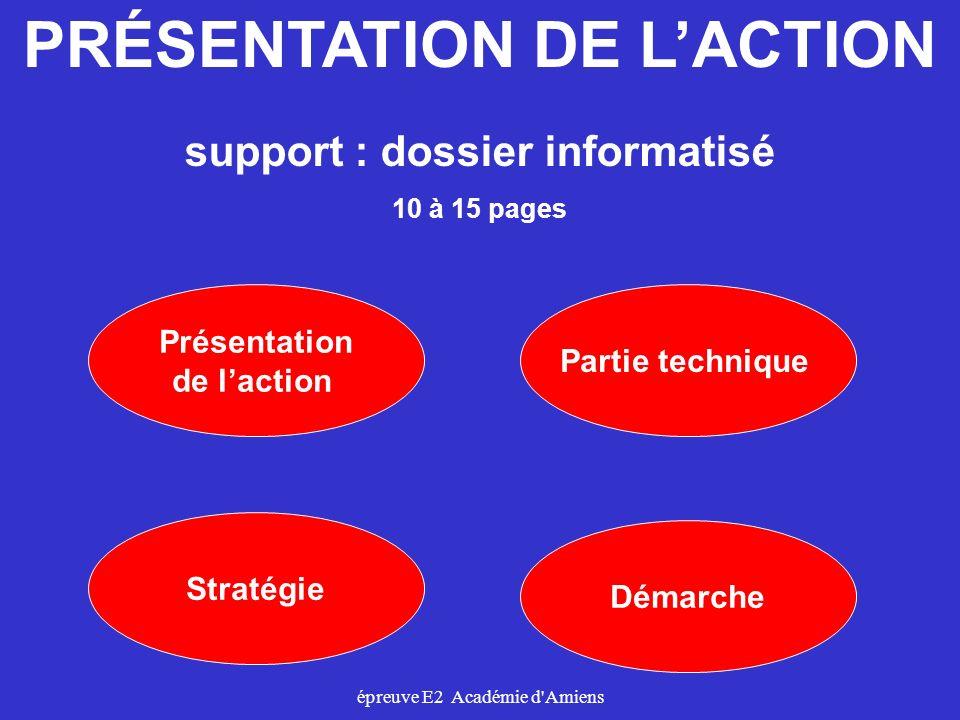 épreuve E2 Académie d'Amiens Présentation de laction Démarche Stratégie PRÉSENTATION DE LACTION Partie technique support : dossier informatisé 10 à 15