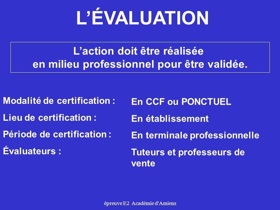 épreuve E2 Académie d'Amiens LÉVALUATION Modalité de certification : Lieu de certification : Période de certification : Évaluateurs : En CCF ou PONCTU