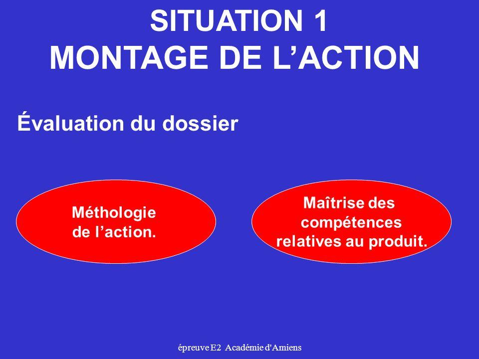 épreuve E2 Académie d'Amiens SITUATION 1 MONTAGE DE LACTION Méthologie de laction. Évaluation du dossier Maîtrise des compétences relatives au produit