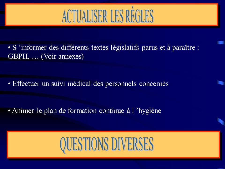 S informer des différents textes législatifs parus et à paraître : GBPH, … (Voir annexes) Effectuer un suivi médical des personnels concernés Animer l