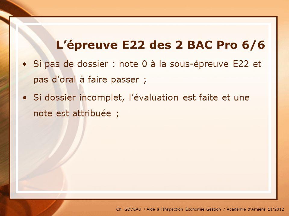 Ch. GODEAU / Aide à l'Inspection Économie-Gestion / Académie d'Amiens 11/2012 Lépreuve E22 des 2 BAC Pro 6/6 Si pas de dossier : note 0 à la sous-épre