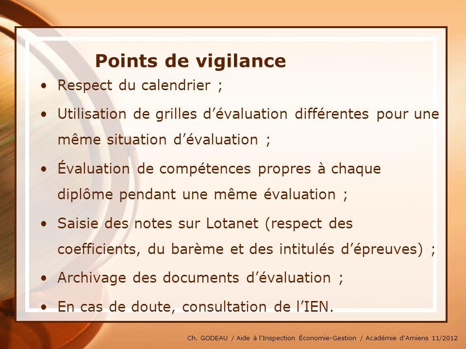 Ch. GODEAU / Aide à l'Inspection Économie-Gestion / Académie d'Amiens 11/2012 Points de vigilance Respect du calendrier ; Utilisation de grilles déval