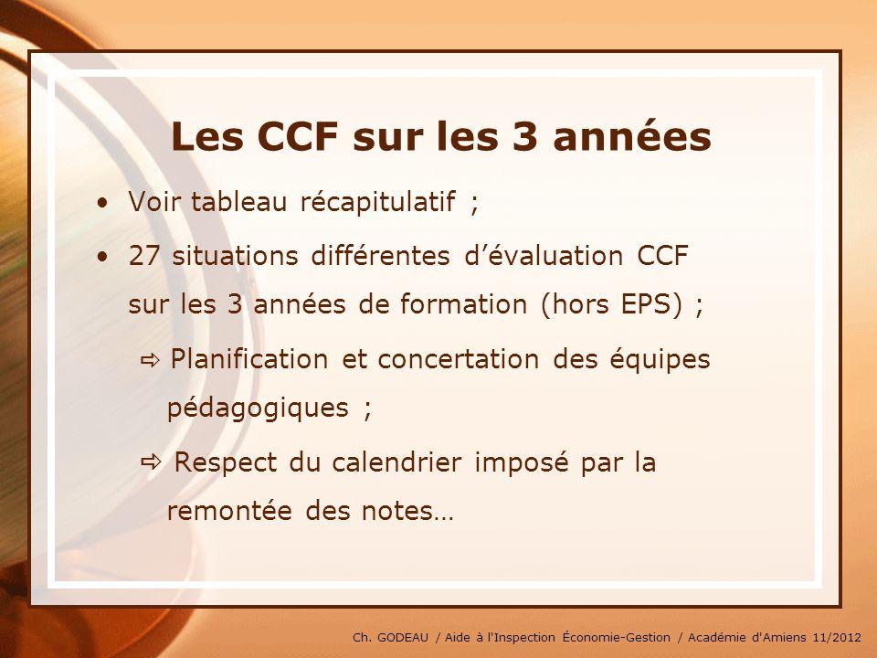 Ch. GODEAU / Aide à l'Inspection Économie-Gestion / Académie d'Amiens 11/2012 Les CCF sur les 3 années Voir tableau récapitulatif ; 27 situations diff
