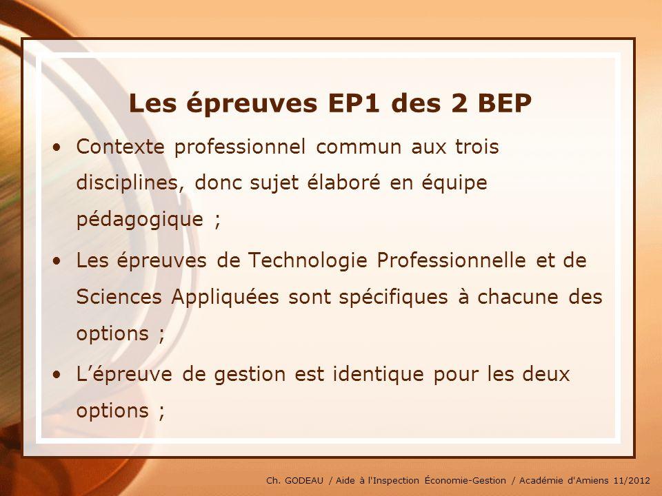 Ch. GODEAU / Aide à l'Inspection Économie-Gestion / Académie d'Amiens 11/2012 Les épreuves EP1 des 2 BEP Contexte professionnel commun aux trois disci