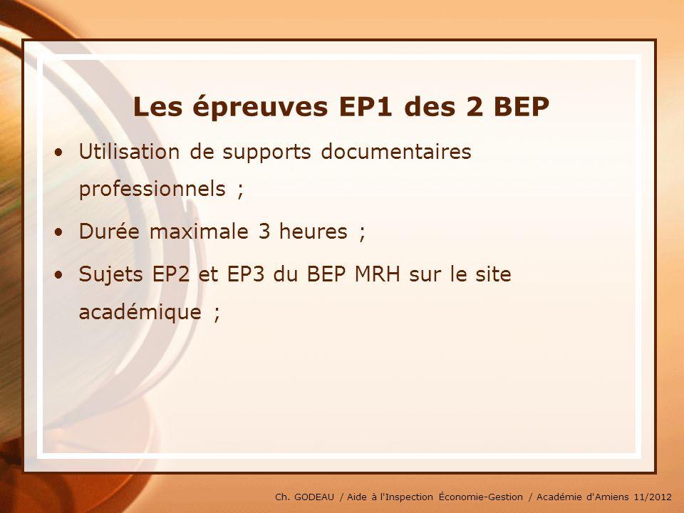 Ch. GODEAU / Aide à l'Inspection Économie-Gestion / Académie d'Amiens 11/2012 Les épreuves EP1 des 2 BEP Utilisation de supports documentaires profess