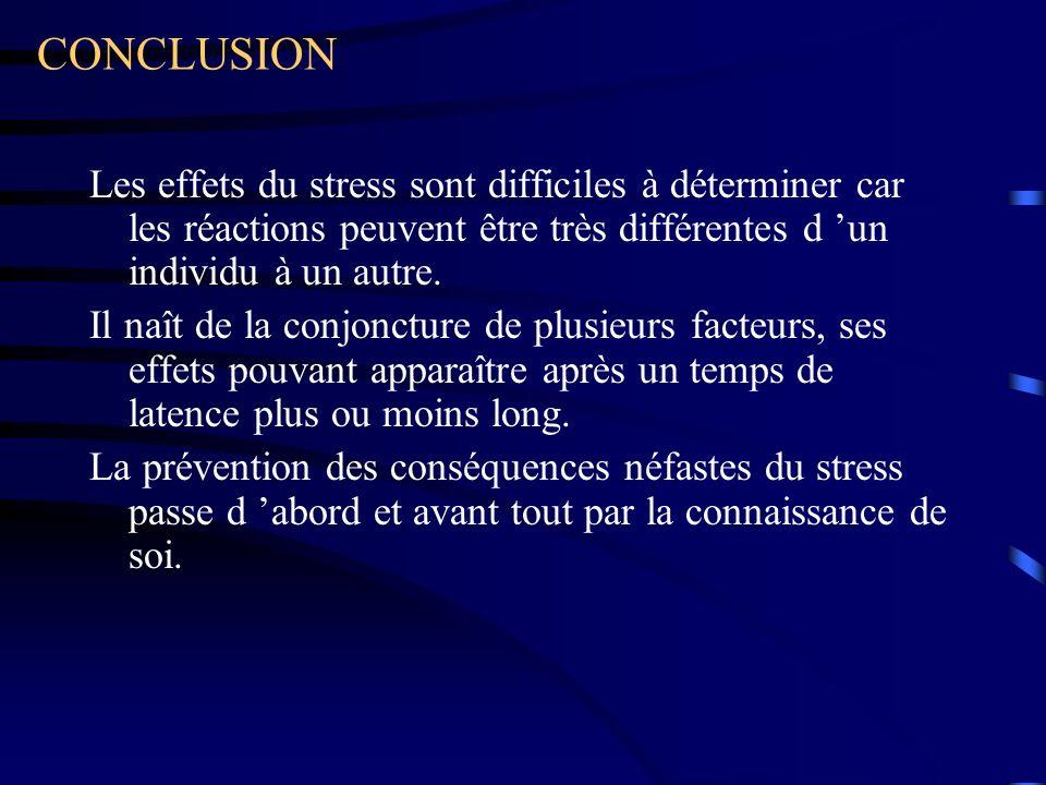 CONCLUSION Les effets du stress sont difficiles à déterminer car les réactions peuvent être très différentes d un individu à un autre.