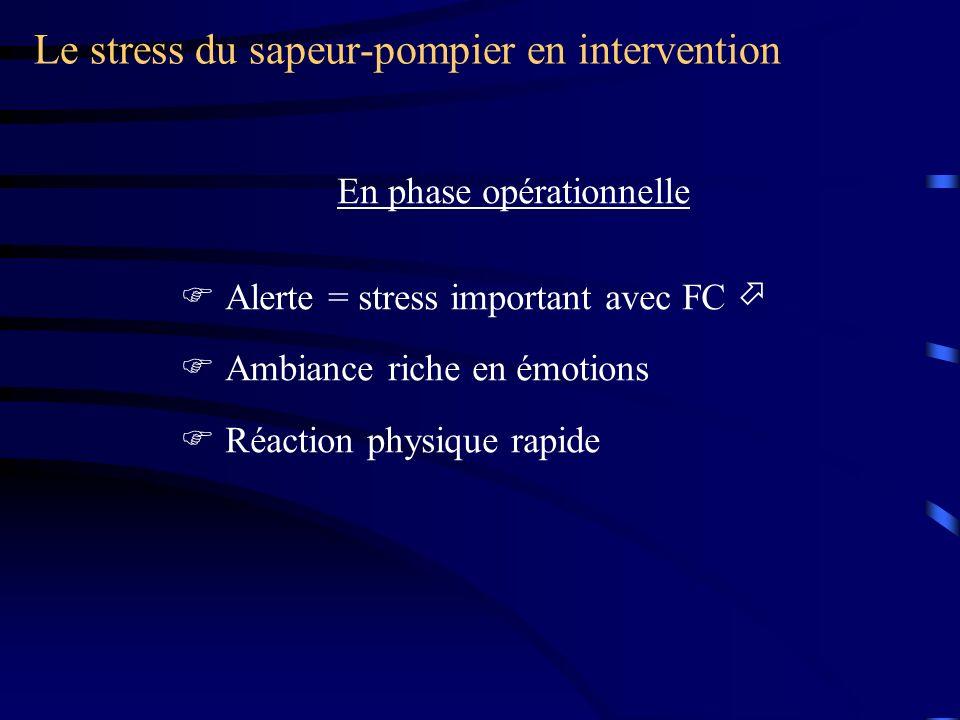 Le stress du sapeur-pompier en opération Après l intervention On ne parle pas … Il faut décompresser … Rôle du chef d agrès