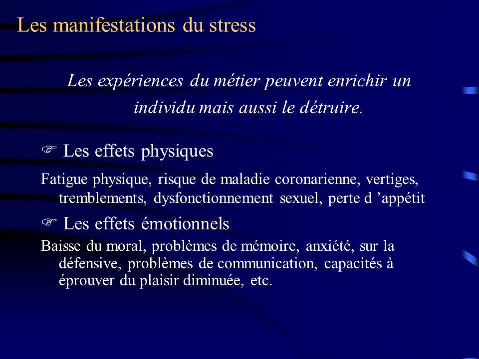 Les manifestations du stress Les expériences du métier peuvent enrichir un individu mais aussi le détruire.