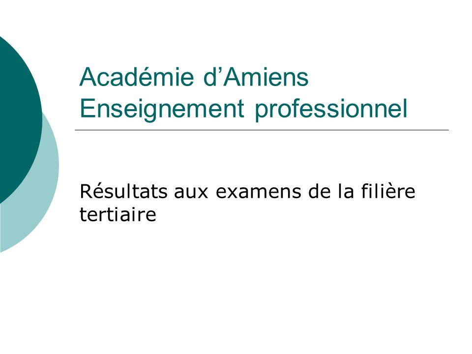 Académie dAmiens Enseignement professionnel Résultats aux examens de la filière tertiaire