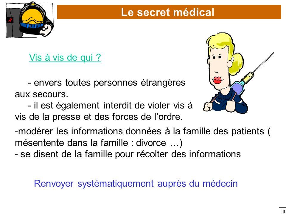 II Le secret médical Vis à vis de qui ? - envers toutes personnes étrangères aux secours. - il est également interdit de violer vis à vis de la presse