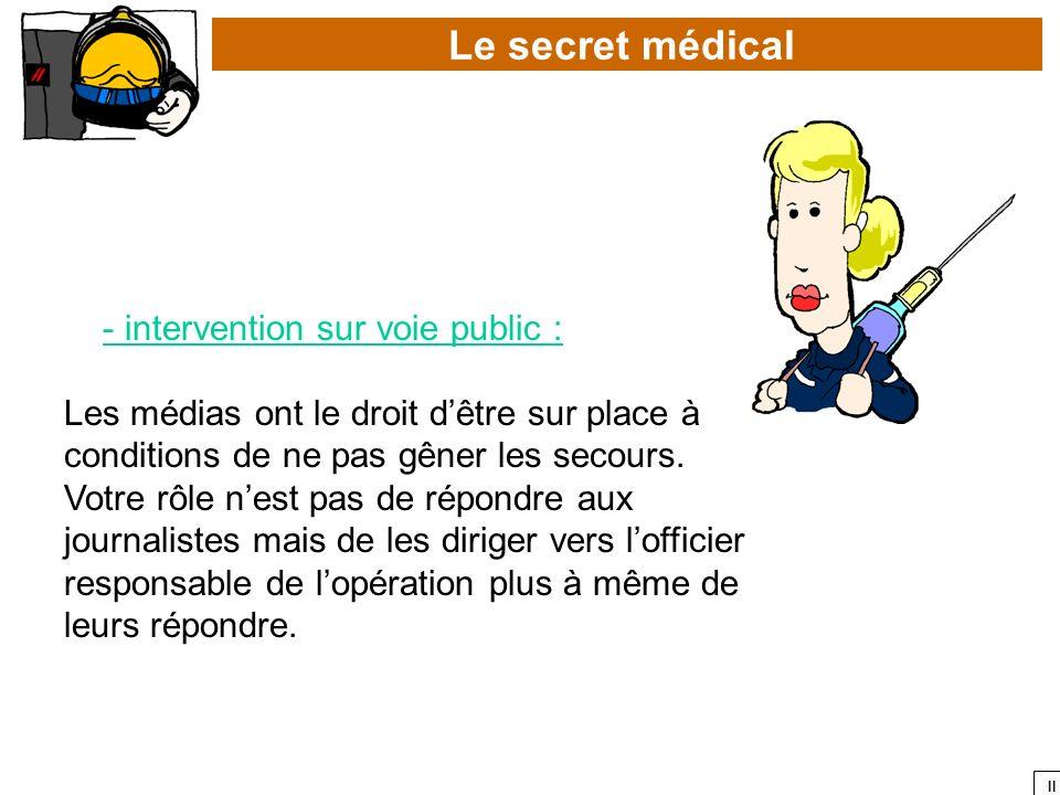 II Le secret médical - intervention sur voie public : Les médias ont le droit dêtre sur place à conditions de ne pas gêner les secours. Votre rôle nes