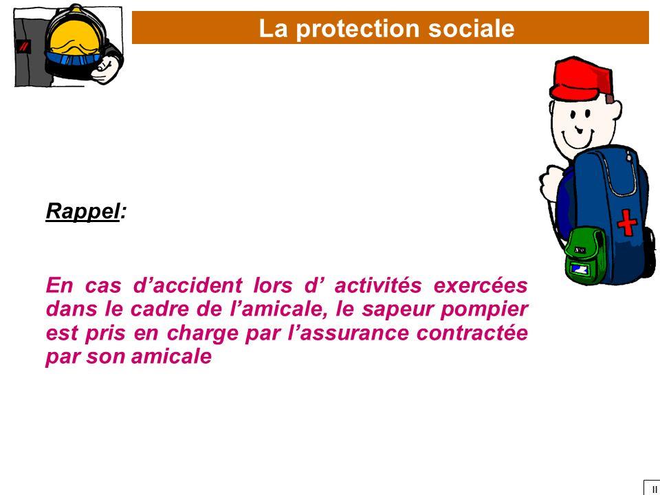 II La protection sociale Rappel: En cas daccident lors d activités exercées dans le cadre de lamicale, le sapeur pompier est pris en charge par lassur