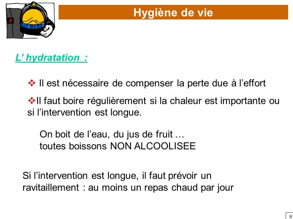 II Hygiène de vie L hydratation : Il est nécessaire de compenser la perte due à leffort Il faut boire régulièrement si la chaleur est importante ou si