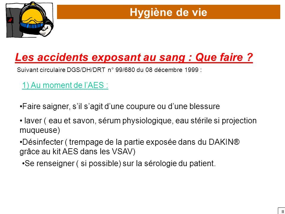 II Hygiène de vie Les accidents exposant au sang : Que faire ? Faire saigner, sil sagit dune coupure ou dune blessure 1) Au moment de lAES : Suivant c
