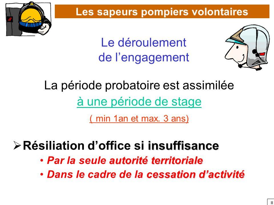II La période probatoire est assimilée à une période de stage ( min 1an et max. 3 ans) insuffisance Résiliation doffice si insuffisance autorité terri