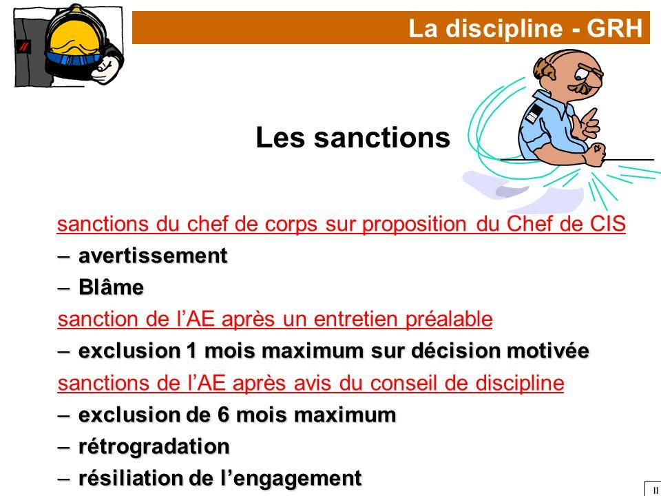 II La discipline - GRH Les sanctions sanctions du chef de corps sur proposition du Chef de CIS –avertissement –Blâme sanction de lAE après un entretie
