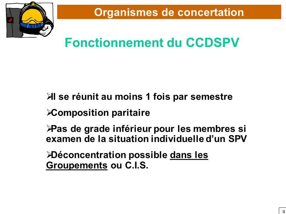 II Organismes de concertation Fonctionnement du CCDSPV Il se réunit au moins 1 fois par semestre Composition paritaire Pas de grade inférieur pour les