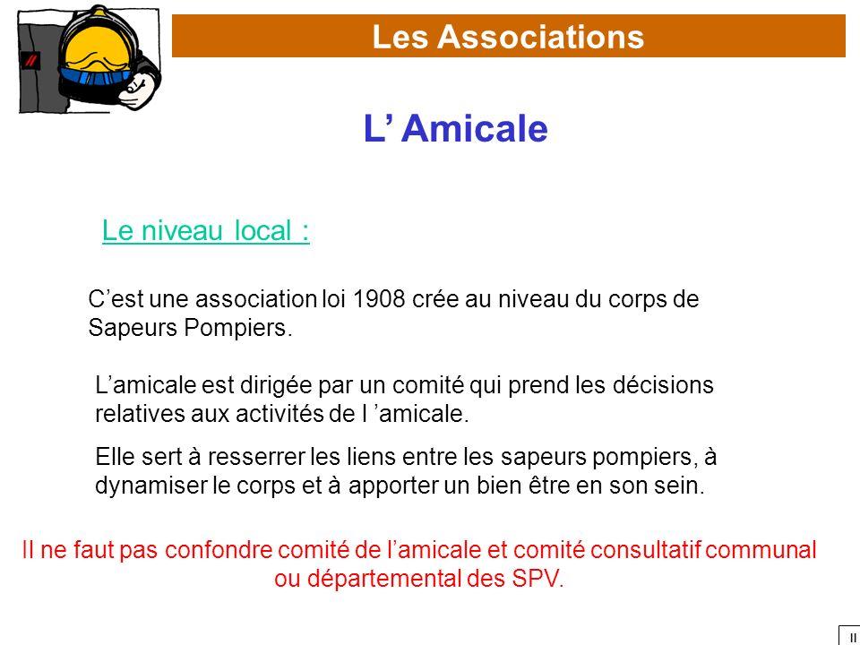 II Les Associations L Amicale Le niveau local : Cest une association loi 1908 crée au niveau du corps de Sapeurs Pompiers. Lamicale est dirigée par un