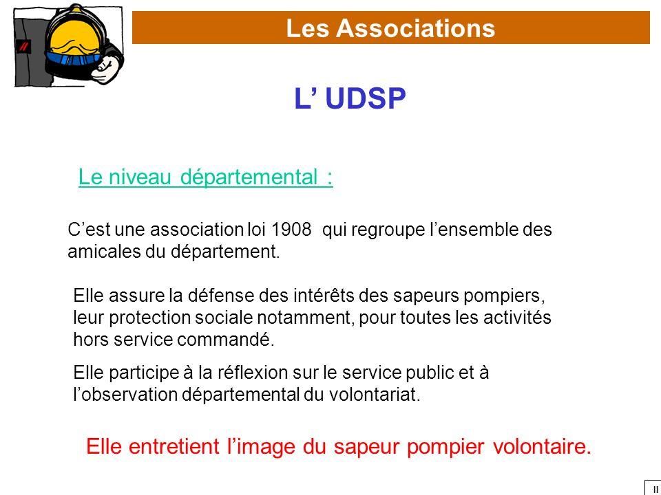 II Les Associations L UDSP Le niveau départemental : Cest une association loi 1908 qui regroupe lensemble des amicales du département. Elle assure la