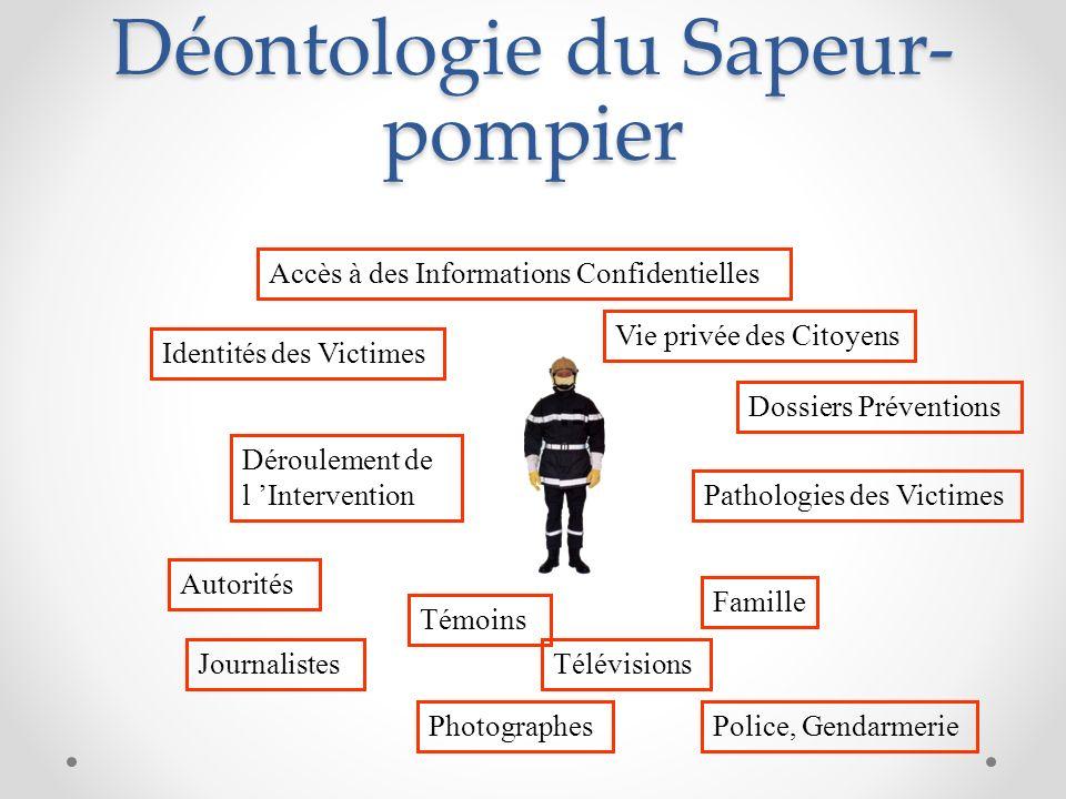 Déontologie du Sapeur- pompier Identités des Victimes Vie privée des Citoyens Accès à des Informations Confidentielles Déroulement de l Intervention P