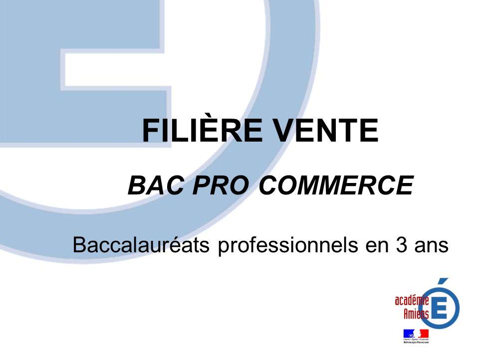 FILIÈRE VENTE BAC PRO COMMERCE Baccalauréats professionnels en 3 ans