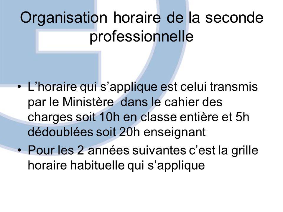 Organisation horaire de la seconde professionnelle Lhoraire qui sapplique est celui transmis par le Ministère dans le cahier des charges soit 10h en c