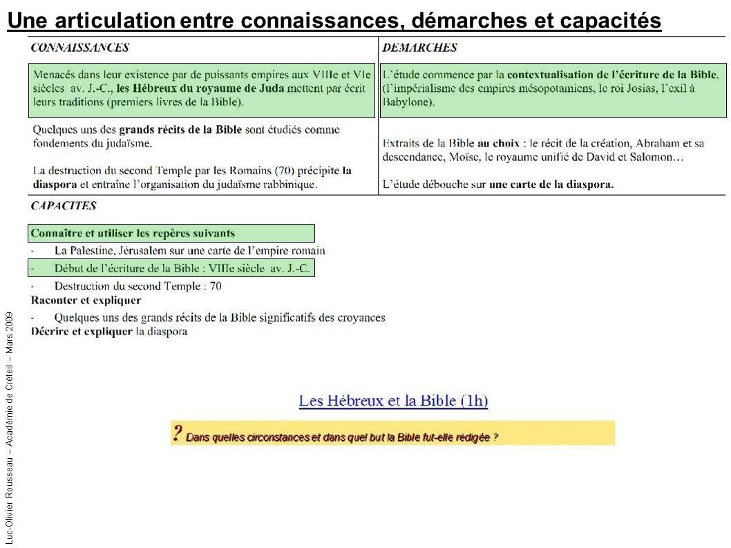 Luc-Olivier Rousseau – Académie de Créteil – Mars 2009 Une articulation entre connaissances, démarches et capacités