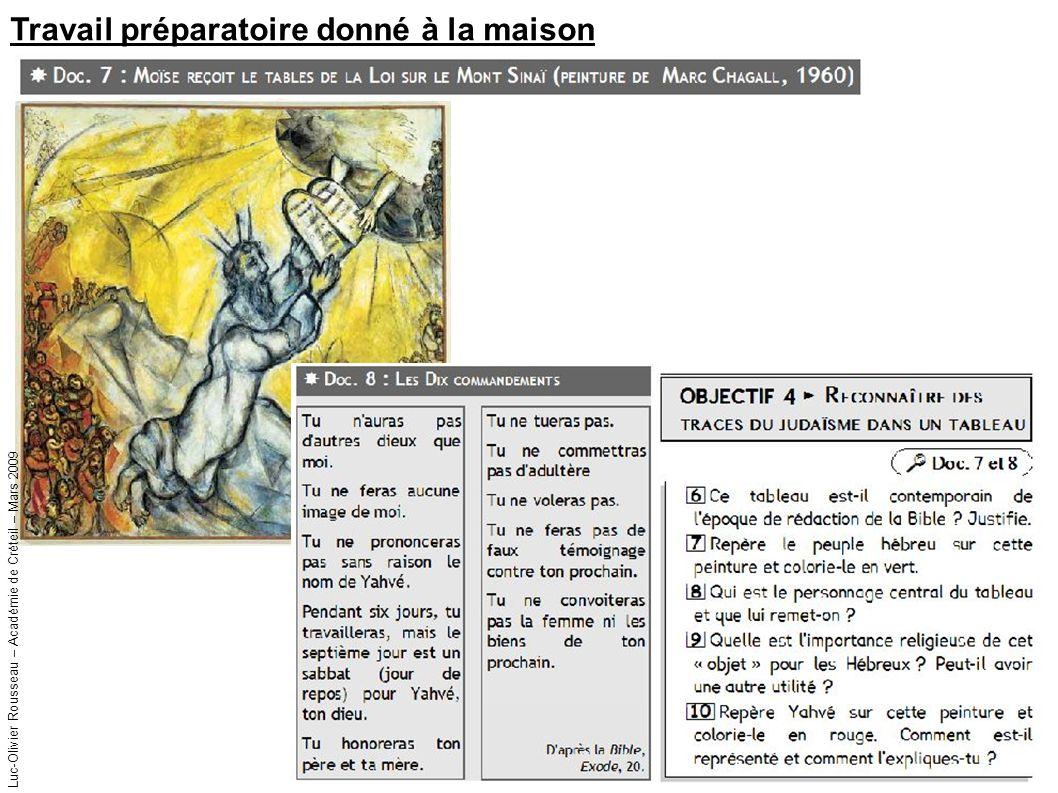 Travail préparatoire donné à la maison Luc-Olivier Rousseau – Académie de Créteil – Mars 2009