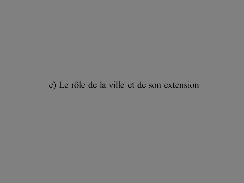 c) Le rôle de la ville et de son extension