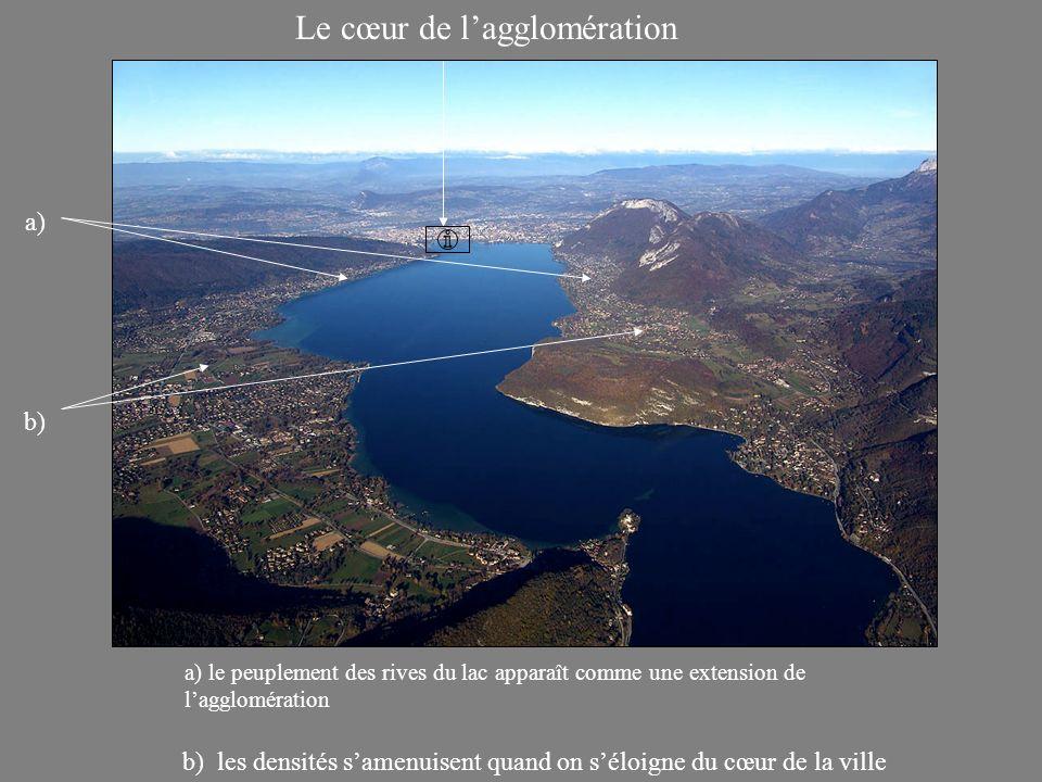 Le cœur de lagglomération a) b) les densités samenuisent quand on séloigne du cœur de la ville a) le peuplement des rives du lac apparaît comme une extension de lagglomération b)