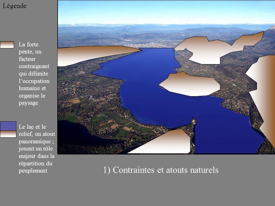La forte pente, un facteur contraignant qui délimite loccupation humaine et organise le paysage Légende 1) Contraintes et atouts naturels Le lac et le relief, un atout panoramique ; jouent un rôle majeur dans la répartition du peuplement