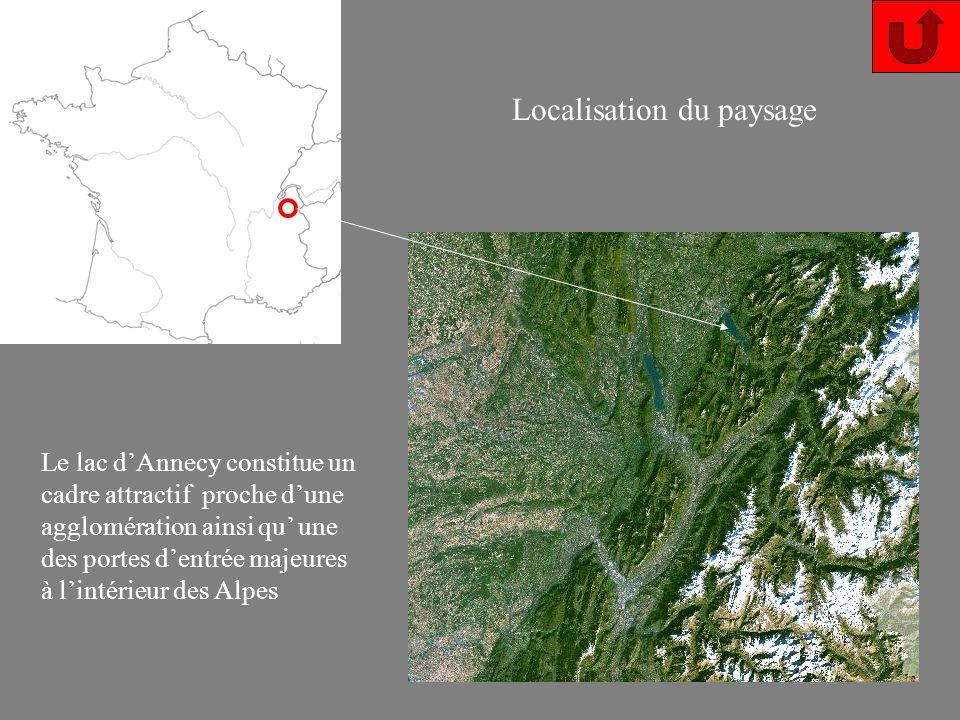 Le lac dAnnecy constitue un cadre attractif proche dune agglomération ainsi qu une des portes dentrée majeures à lintérieur des Alpes Localisation du paysage
