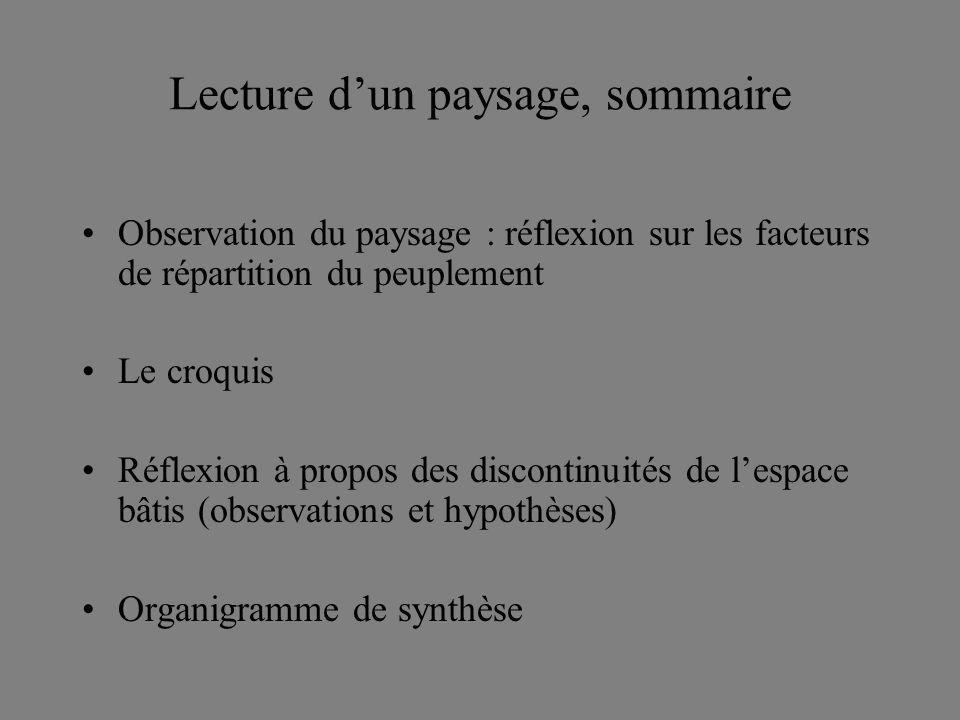 Lecture dun paysage, sommaire Observation du paysage : réflexion sur les facteurs de répartition du peuplement Le croquis Réflexion à propos des discontinuités de lespace bâtis (observations et hypothèses) Organigramme de synthèse