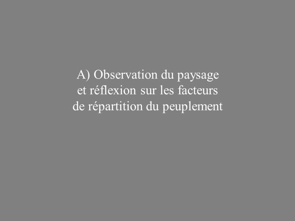 A) Observation du paysage et réflexion sur les facteurs de répartition du peuplement