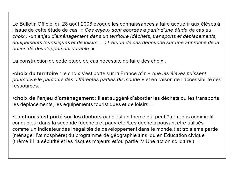 Le Bulletin Officiel du 28 août 2008 évoque les connaissances à faire acquérir aux élèves à lissue de cette étude de cas « Ces enjeux sont abordés à p