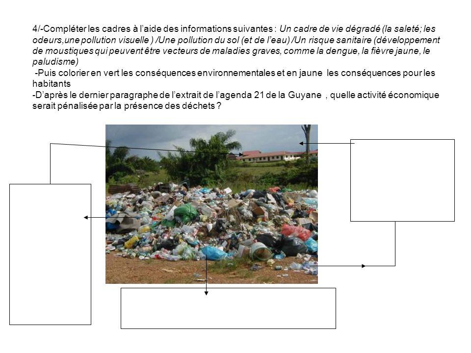 4/-Compléter les cadres à laide des informations suivantes : Un cadre de vie dégradé (la saleté; les odeurs,une pollution visuelle ) /Une pollution du sol (et de leau) /Un risque sanitaire (développement de moustiques qui peuvent être vecteurs de maladies graves, comme la dengue, la fièvre jaune, le paludisme) -Puis colorier en vert les conséquences environnementales et en jaune les conséquences pour les habitants -Daprès le dernier paragraphe de lextrait de lagenda 21 de la Guyane, quelle activité économique serait pénalisée par la présence des déchets ?