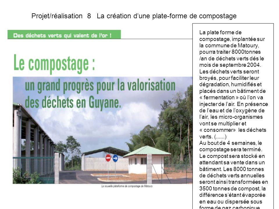 Projet/réalisation 8 La création dune plate-forme de compostage La plate forme de compostage, implantée sur la commune de Matoury, pourra traiter 8000tonnes /an de déchets verts dés le mois de septembre 2004.
