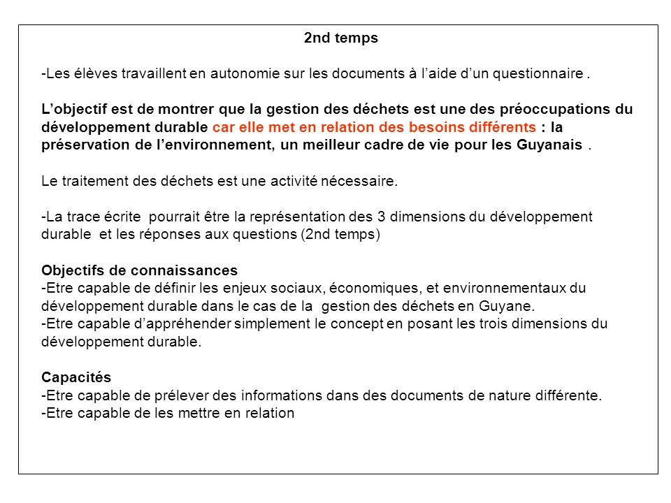 2nd temps -Les élèves travaillent en autonomie sur les documents à laide dun questionnaire.
